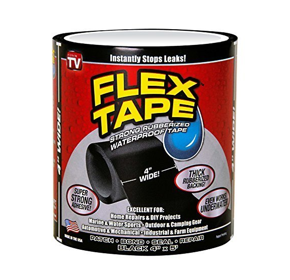 水に濡れてもはがれない強力な粘着力を持つテープ「フレックステープ」