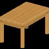 テーブル天板の淵の塗料が剥げて板がむき出しになった部分を補修